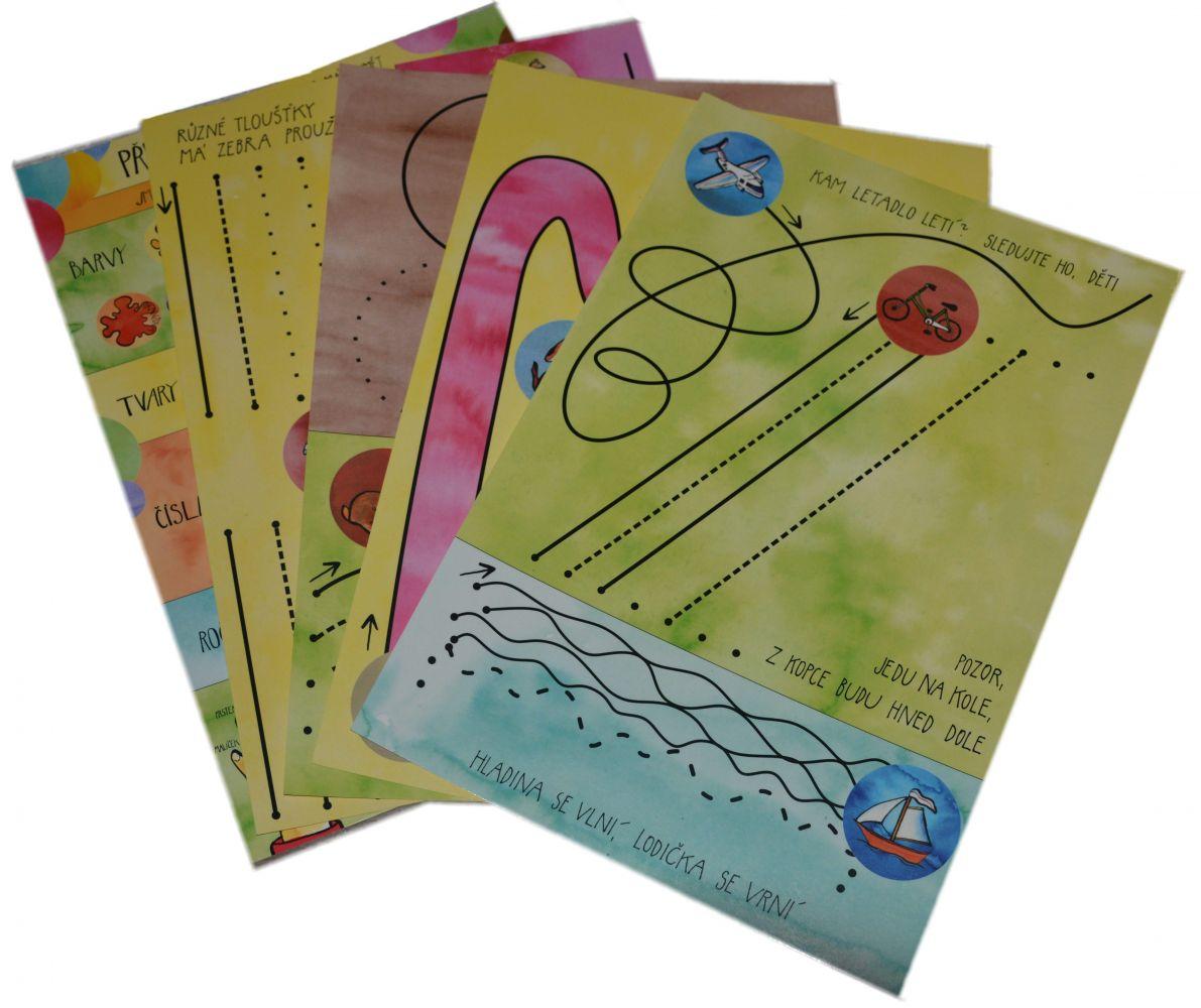 Malý předškolák 2 - příprava na psaní - sada stíratelné pracovní podložky